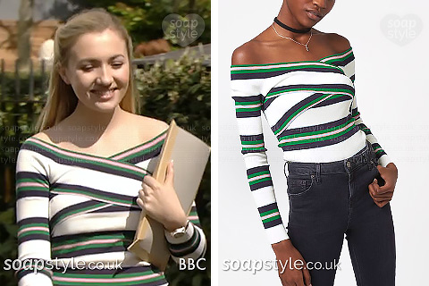 Louise Mitchell's stripe bardot top in EastEnders – SoapStyle