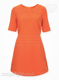 Maxine's orange shift dress in Hollyoaks - Found - SoapStyle