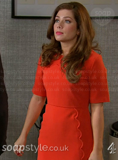 Maxine's orange shift dress in Hollyoaks - SoapStyle