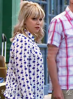Nancy's blue palm print blouse in Hollyoaks - SoapStyle