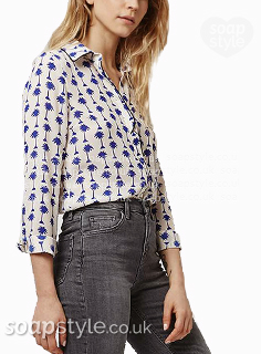 Nancy's Blue Palm Tree Print Shirt