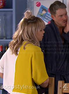 Nancy's yellow & blue colour block top in Hollyoaks - SoapStyle