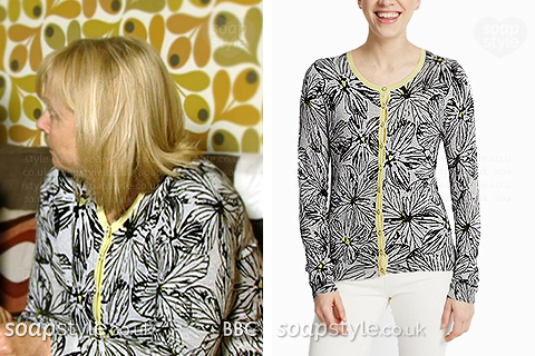 Picture of Pam wearing her floral print cardigan in EastEnders