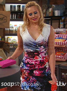 Tracy's floral dress in Emmerdale - SoapStyle