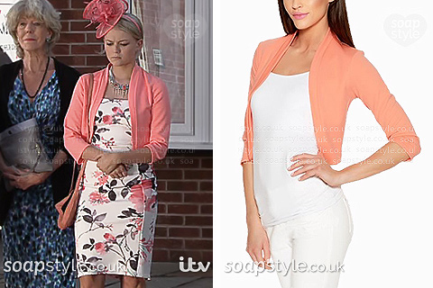 Bethany's cropped soft jacket in Coronation Street - Where From - SoapStyle