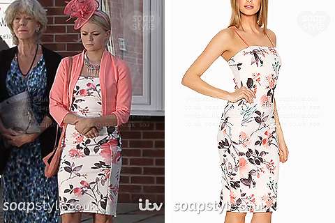 Bethany's floral bodycon dress in Coronation Street - SoapStyle