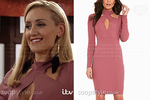 Eva's cutout bodycon dress in Coronation St - SoapStyle