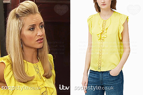 Eva's yellow top / blouse in Coronation St - SoapStyle