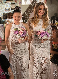 Picture of Kim wearing her wedding dress in Hollyoaks