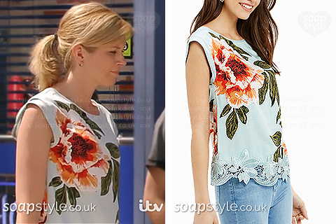Leanne's floral sleeveless top in Corrie - SoapStyle