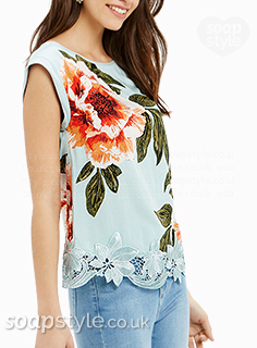 Leanne's floral sleeveless top in Corrie - Where From - SoapStyle