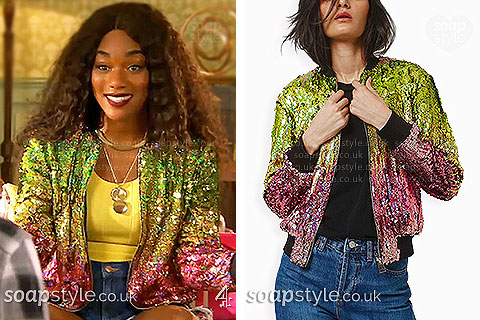 Picture: Lisa Loveday wearing her ombre sequin bomber jacket in Hollyoaks