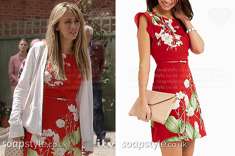 Maria's red floral dress in Coronation St - SoapStyle