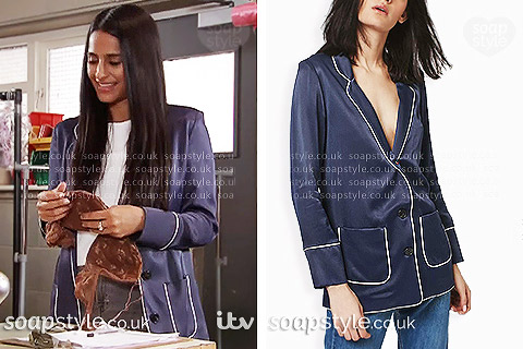 Picture: Alya Nazir's navy pyjama-style jacket in Coronation Street