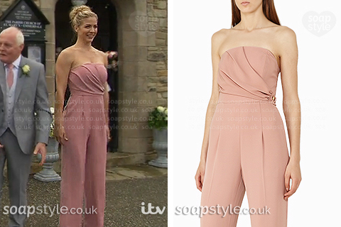 Picture: Carly Hope's (Gemma Atkinson) blush pink jumpsuit in Emmerdale