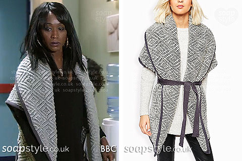Picture: Denise Fox (Diane Parish) wearing her grey coatigan in the BBC soap EastEnders