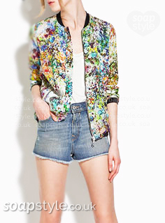 Picture: A match for Esther's floral bomber jacket in Hollyoaks