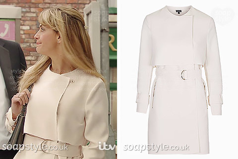 Maria's light trench coat in Coronation St - SoapStyle