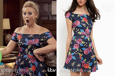 Tracy's floral print bardot dress in Emmerdale - SoapStyle