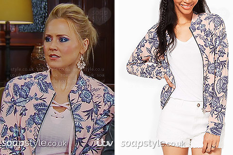 Tracy's floral bomber jacket in Emmerdale - SoapStyle