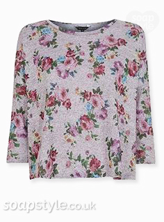 Tracy's grey flower print sweater in Emmerdale - Found - SoapStyle