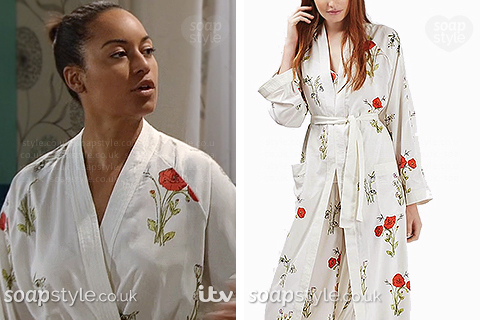 Caz wearing Maria's poppy print night gown in the TV Soap Coronation Street