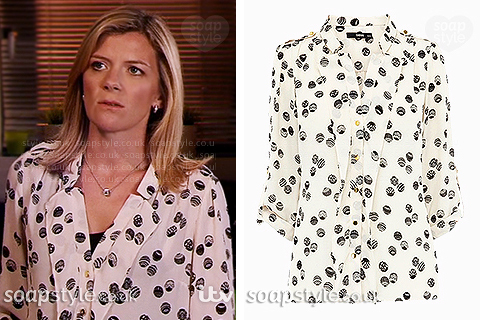 Picture of Leanne wearing her spot print blouse in Coronation Street