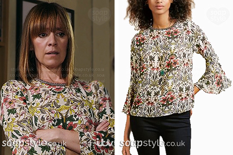 Picture of Rhona wearing her floral top in Emmerdale