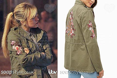 Picture of Sarah Platt wearing her khaki green embroidered floral jacket in Coronation Street