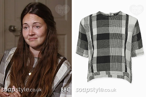 Stacey Fowler's (Branning / Slater) wearing her grey check top in EastEnders