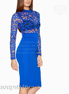 Whitney's Blue Lace Bodycon Dress