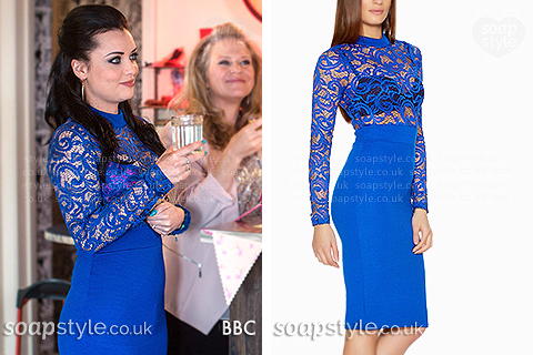 Picture of Whitney Dean (Shona McGarty) wearing her royal blue lace dress in EastEnders