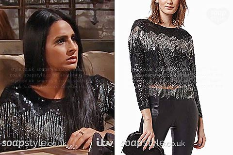 Alya Nazir (Sair Khan) wearing her black sequin top in Coronation Street