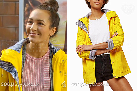 Cleo wearing her yellow rain mac in Hollyoaks