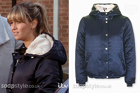 Maria Connor wearing her blue hooded jacket in Coronation Street