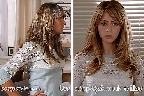 Maria's mint green / blue lace jumper in Coronation Street - SoapStyle