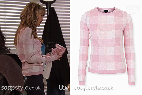 Maria Connor wearing her pink check jumper in Coronation Street