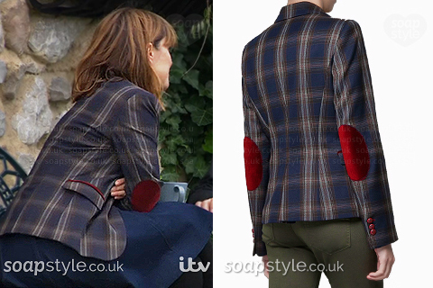 Rhona wearing her check patch blazer in Emmerdale