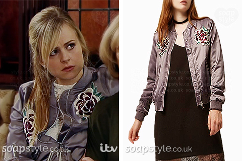Sarah's purple floral embroidered bomber jacket in Coronation Street.