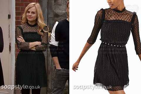 Sarah Platt wearing her Christmas Day dress in Coronation Street