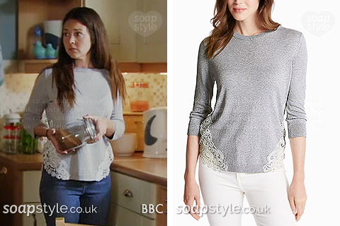 Stacey Fowler wearing her grey lace jumper in EastEnders