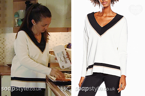 Stacey wearing her deep v-neck jumper in EastEnders