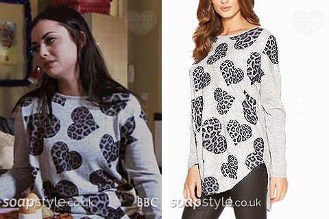 Whitney's wearing her grey leopard heart jumper in EastEnders