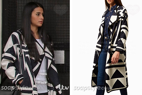 Alya Nazir (Sair Khan) wearing her geo print coat in Coronation Street
