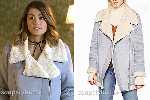 Ellie wearing her light blue shearling coat in Hollyoaks