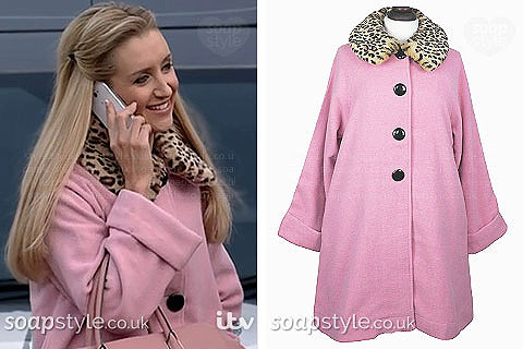 Eva Price (Catherine Tyldesley) wearing her pink faux fur collat coat in Coronation Street