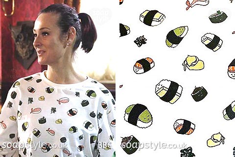 Tina Carter sushi print jumper EastEnders - SoapStyle