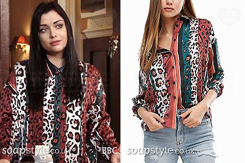 Whitney Carter stripe animal print shirt EastEnders