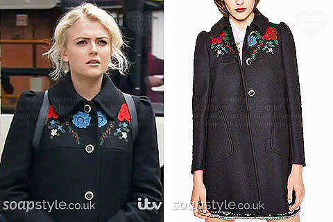 Bethany Platt wearing her floral coat in Coronation Street