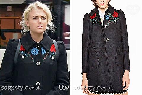 Bethany Platt wearing her floral coat in Coronation Street